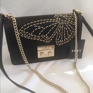 DKNY Black bag  crossbody gold hardware new